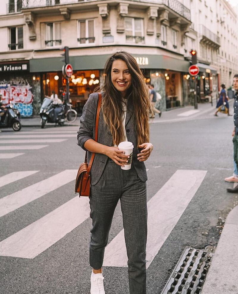 Tasche aus glattem Leder, kleines Modell Marron Garta