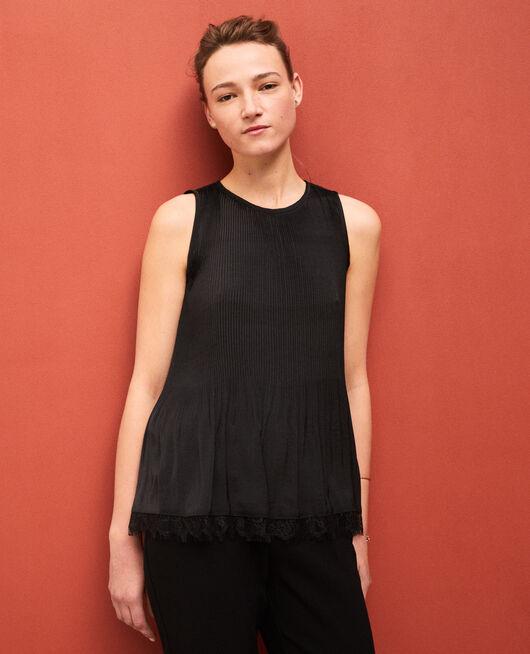 Plissee-Bluse mit Spitze Schwarz