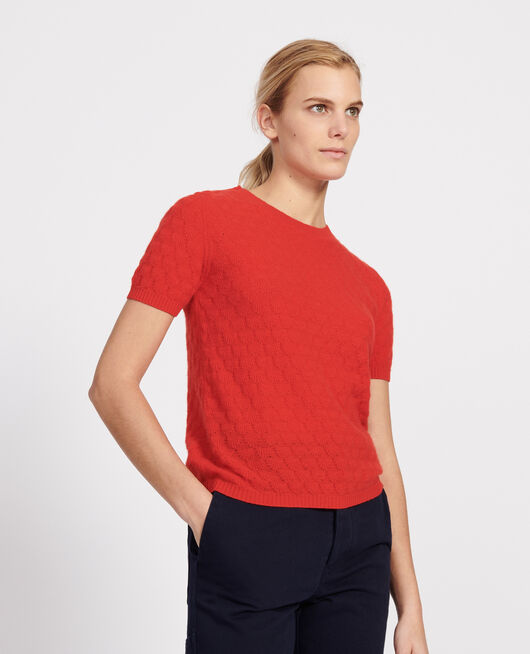 Pullover mit Rundhalsausschnitt, 100 % Kaschmir FIERY RED