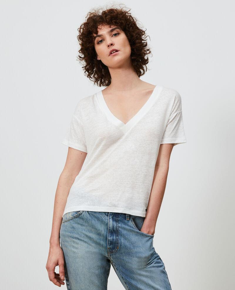 Shirt mit V-Ausschnitt aus Leinen Optical white Locmelar