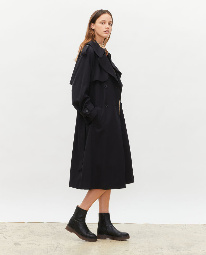 Langer fließender Trenchcoat aus Wolle Black beauty Messimy