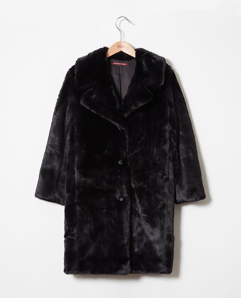 Mantel aus Pelzimitat Noir Jaout