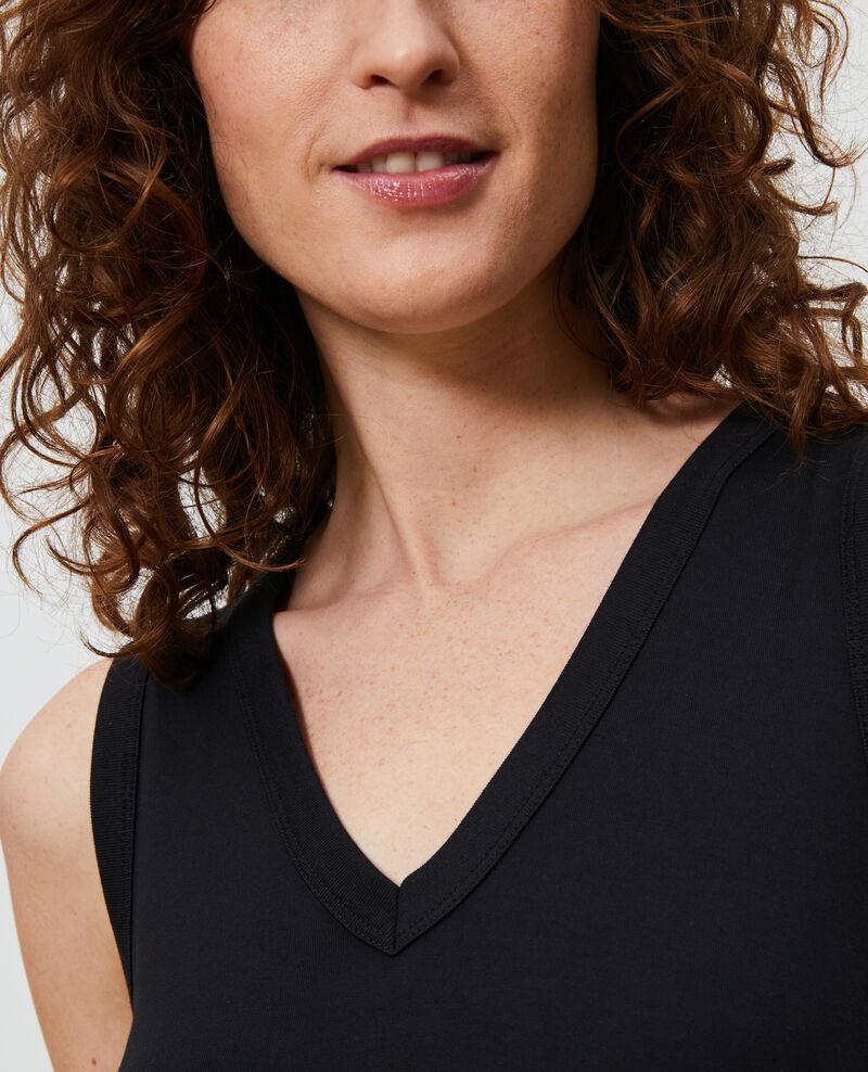 Langes Kleid aus Baumwolle mit V-Ausschnitt Black beauty Larosa