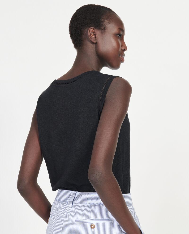 Top mit Ajourmuster aus Jersey-Leinen Black beauty Lespa