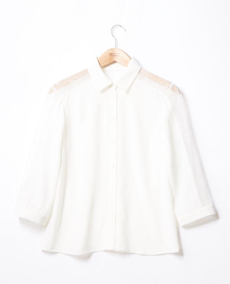 Bluse mit Spitze Weiß Fondre