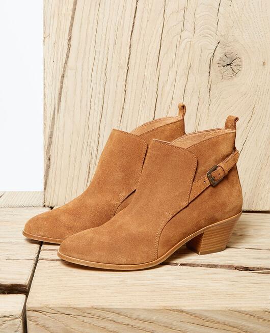 Stiefel aus Veloursleder Marron