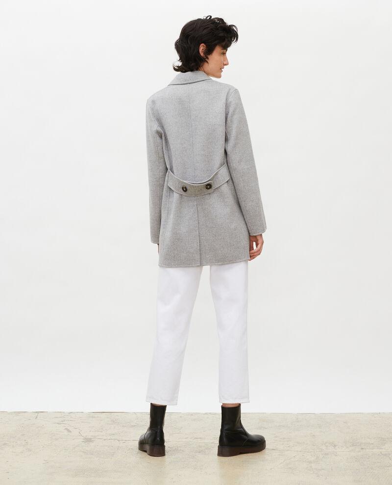 Doppelseitiger Caban-Mantel aus Wollgewebe Light grey Lintot