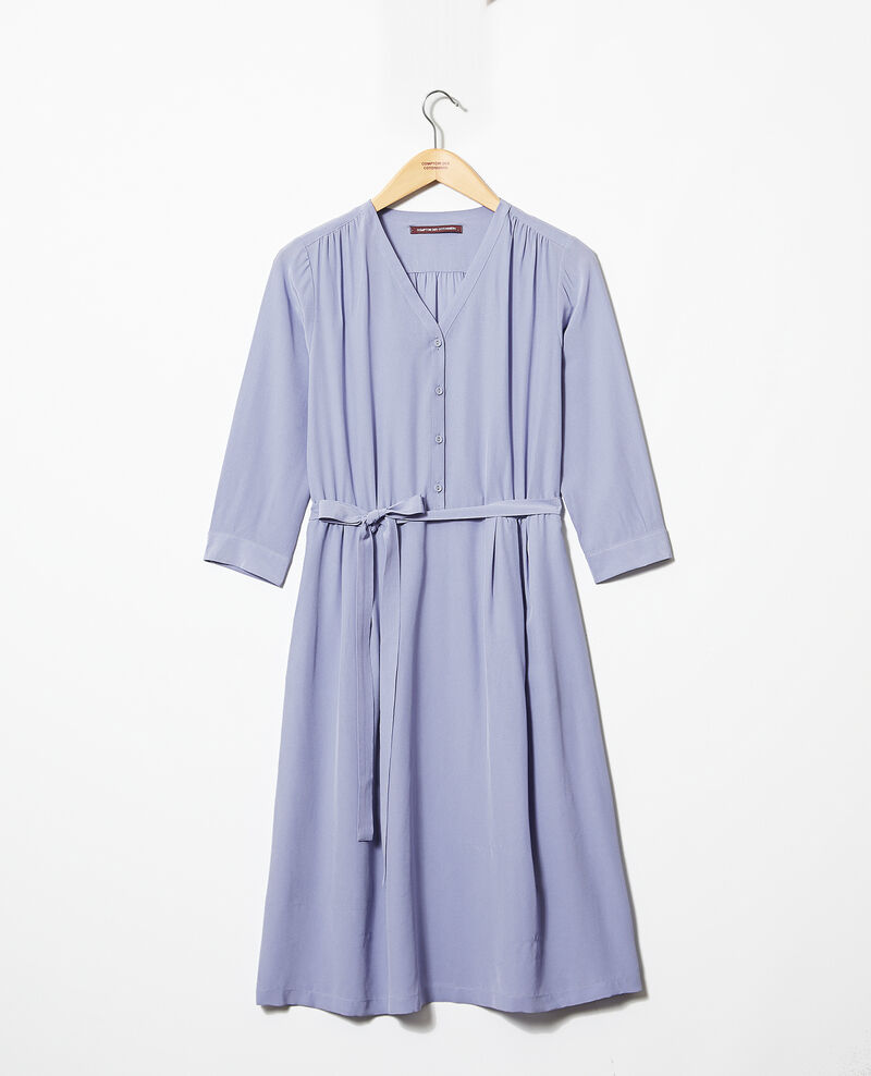 Kleid mit Midi-Länge mit Seide Violet Idalie