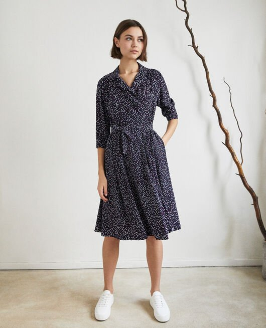 Wickelkleid DOT PRINT NAVY