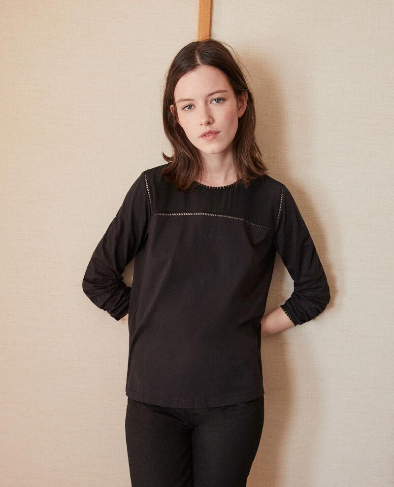 T-Shirt aus Bimaterial mit Troddeldetails Noir Glivoire