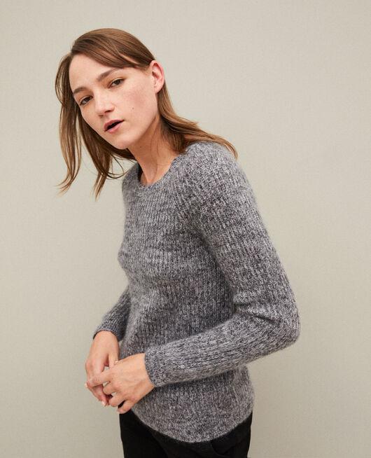 Melierter Pullover aus Mohair LIGHT GREY/NOIR/SILVER GRAY