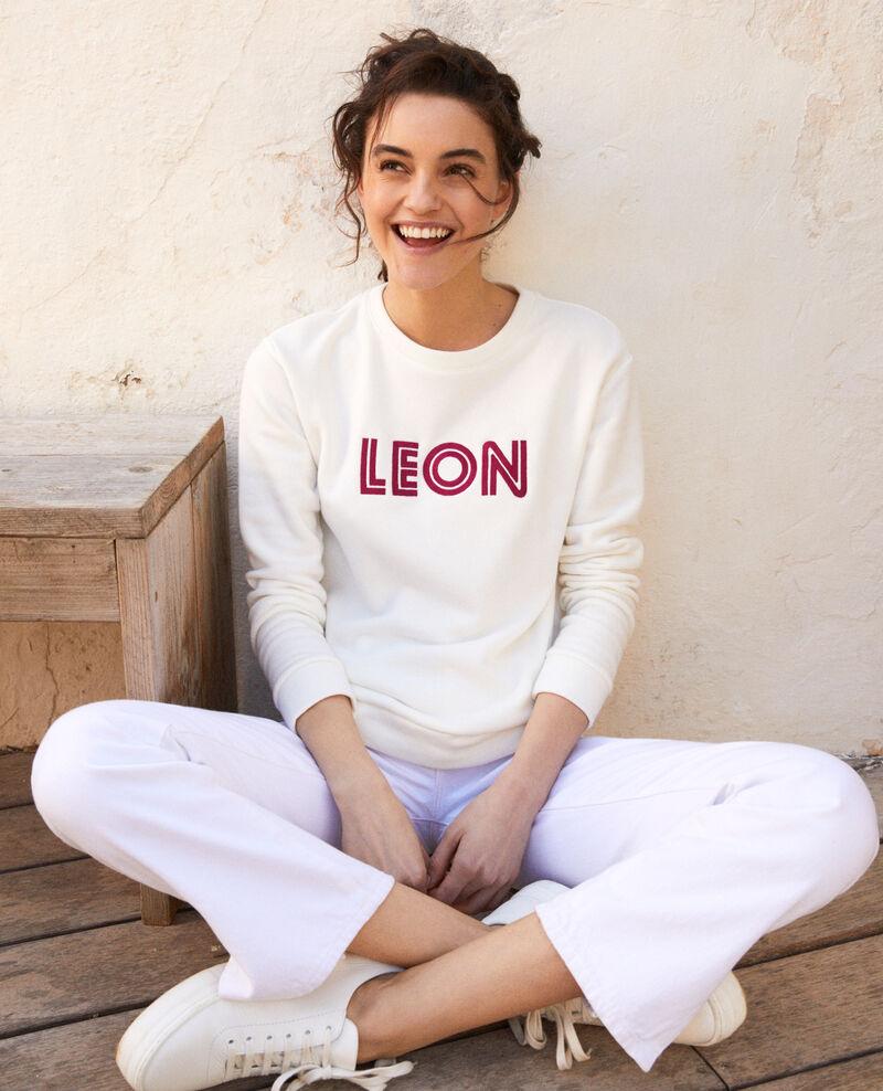 Sweatshirt mit Leon-Stickerei Ow/fushia Igleon