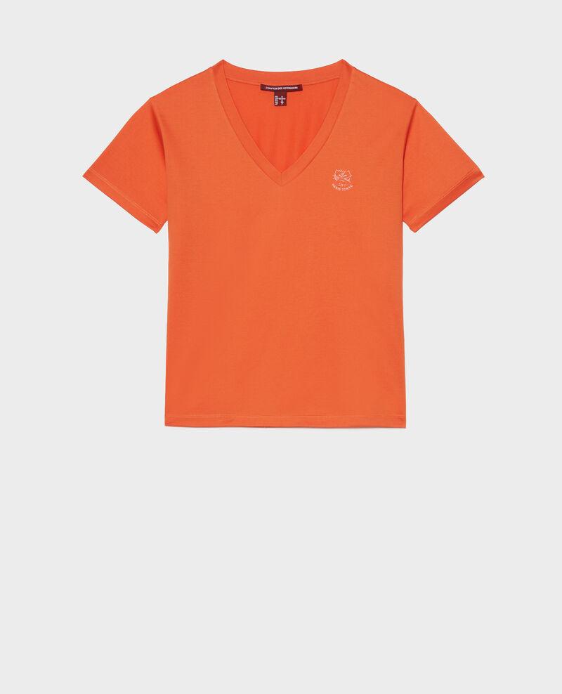 Besticktes T-Shirt aus Baumwolle Harvest pumpkin Nagaoka