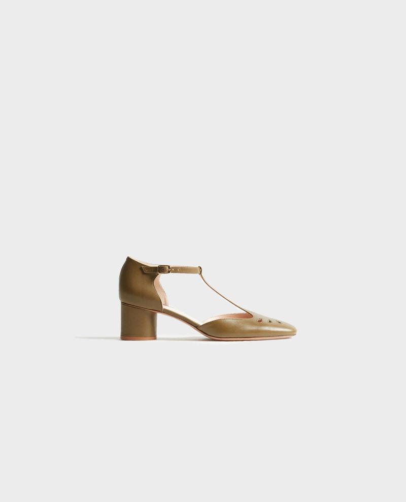 Salome-Schuhe aus Leder Dark olive Pegeve