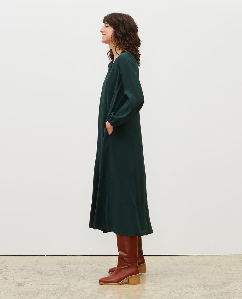 Langes Kleid aus Seide mit Gürtel und V-Ausschnitt Scarab Marieux