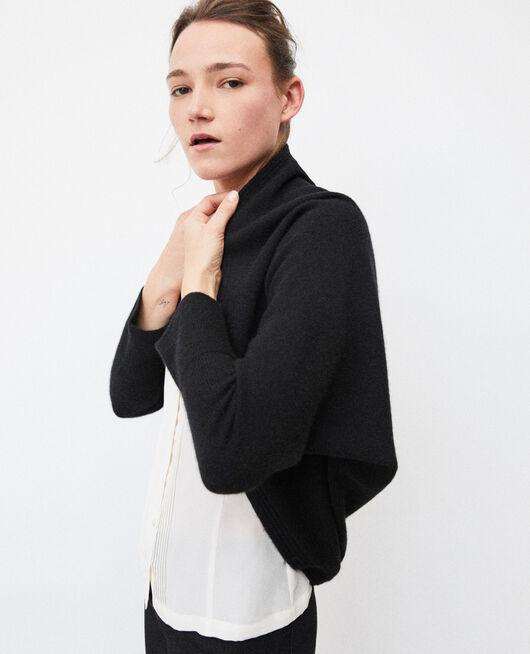 Pullover im Bolerostil mit Kaschmir Schwarz