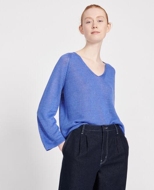 Pullover aus Leinen AMPARO BLUE