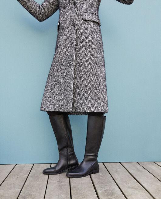 Stiefel aus Glattleder Schwarz