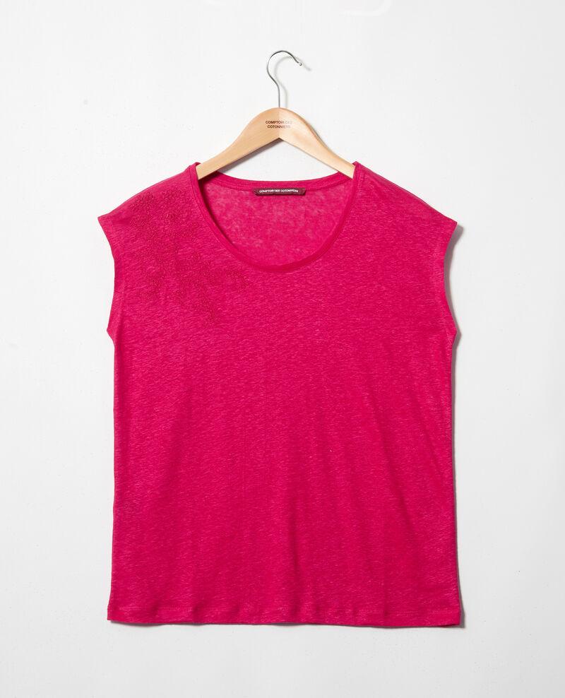 Leinen-T-Shirt, bestickt Fushia Imomo