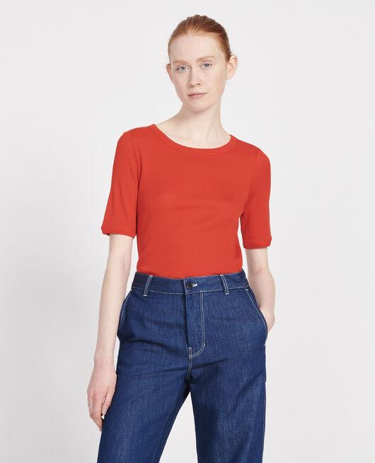 T-Shirt mit feinem Rippstrick aus merzerisierter Baumwolle FIERY RED