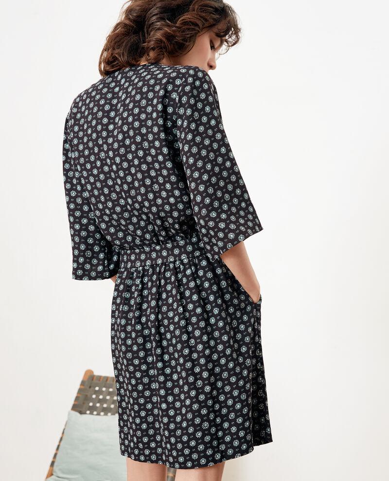 Bedrucktes Kleid mit Schnalle Dandelion black Faustine
