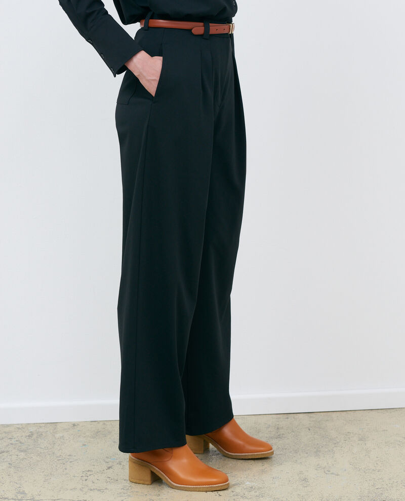 YVONNE – Hose mit weitem Bein mit Bundfalten Black beauty Pradus
