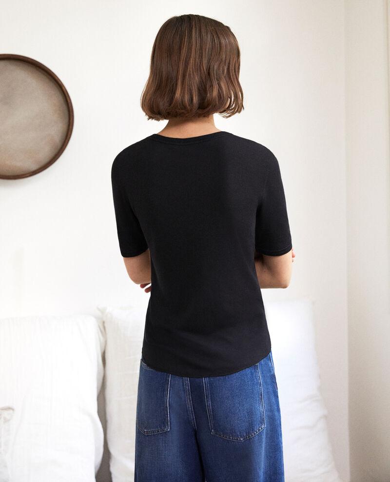 Rippstrick-T-Shirt  Noir Ibabie
