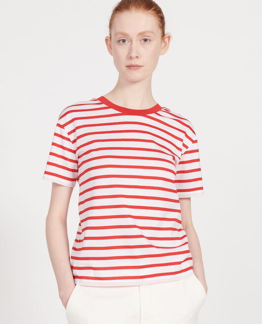 T-Shirt aus ägyptischer Baumwolle STRIPES OPTICAL WHITE FIERY RED