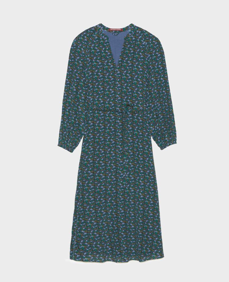 Langes Kleid aus Seide mit Gürtel und V-Ausschnitt Print artdeco darkgreen Marieuxa