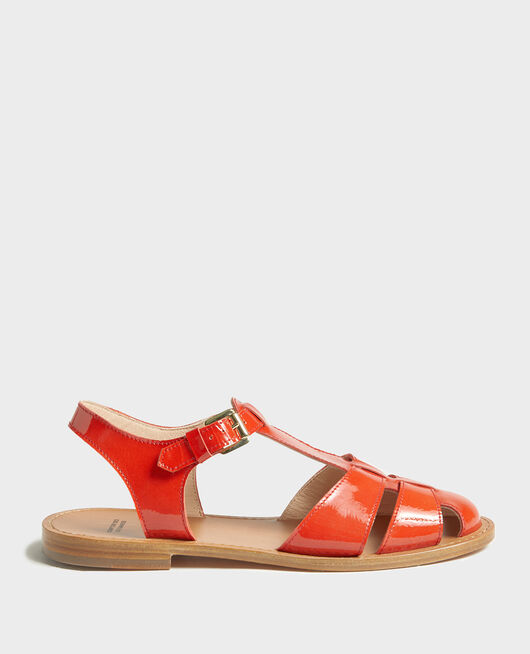 Sandalen aus Lackleder FIERY RED