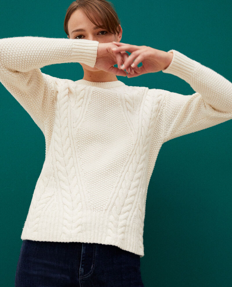 Pullover mit Zopfmuster Weiß Goonies