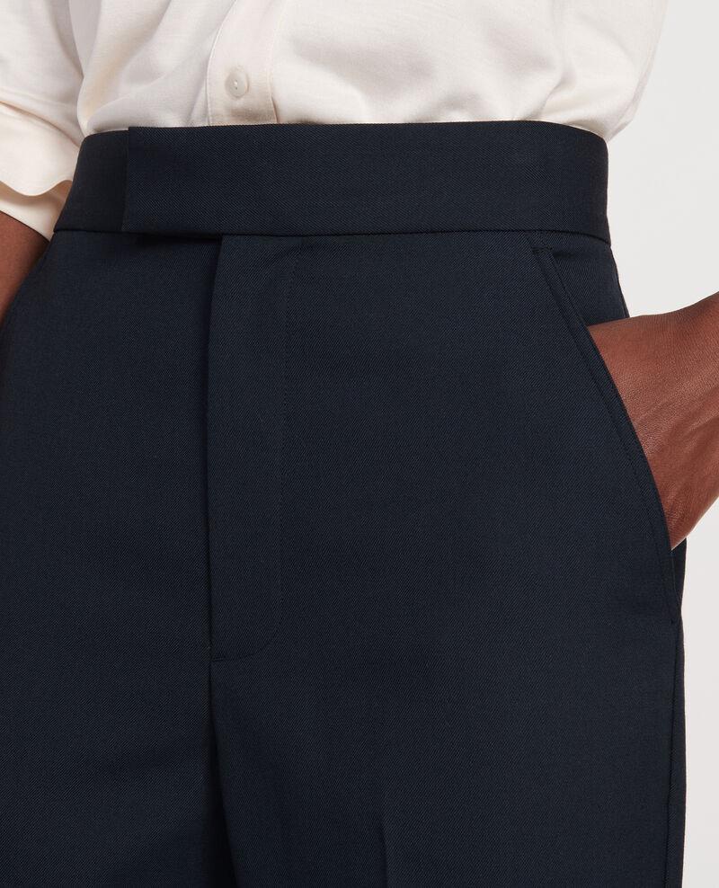 Gerade Hose aus glatter Wolle Dark navy Lisabelle