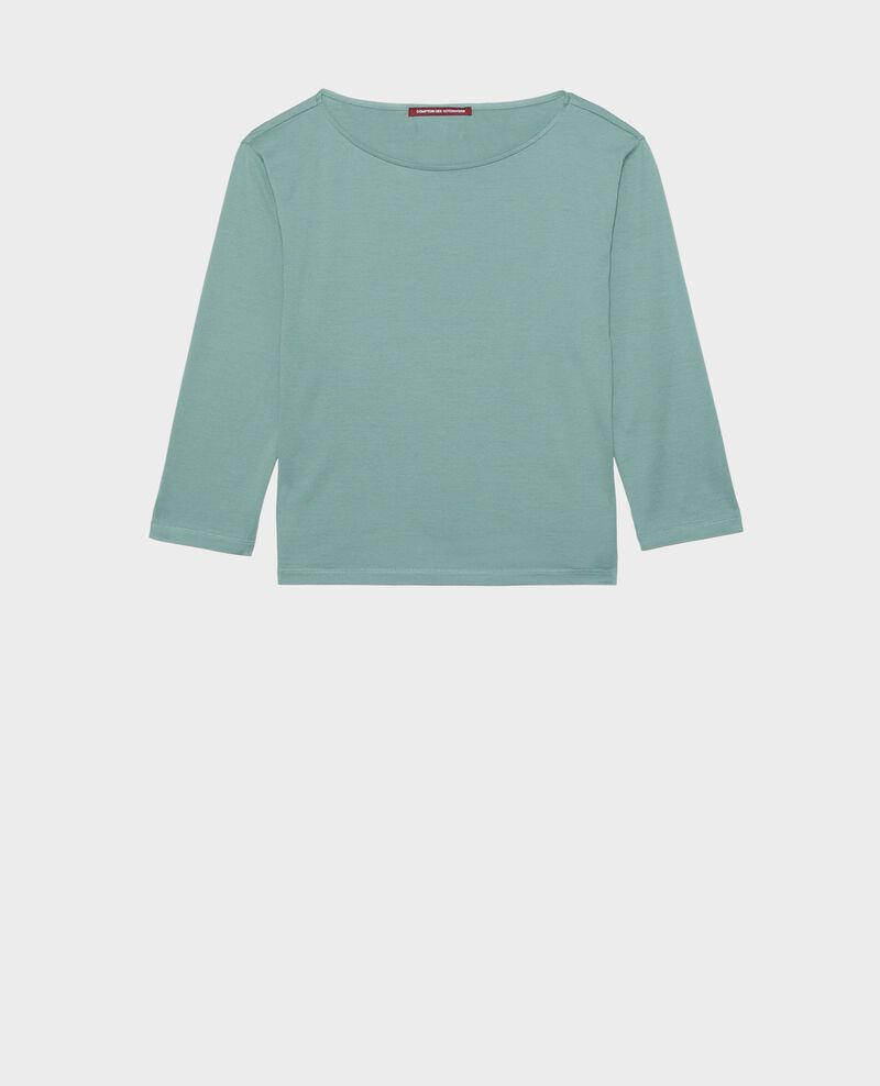 Langärmeliges T-Shirt aus Baumwolle mit U-Boot-Ausschnitt Treillis Lotel
