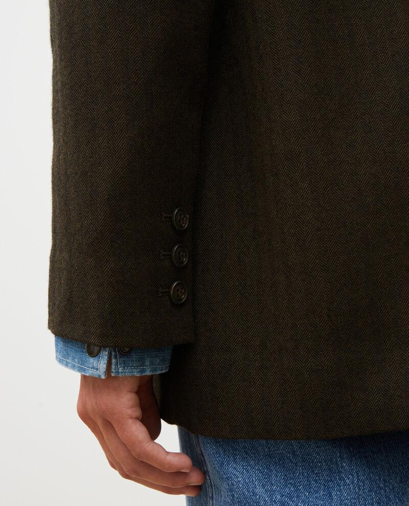 Herrenblazer aus Wolle mit 2 Knöpfen Military green Mably