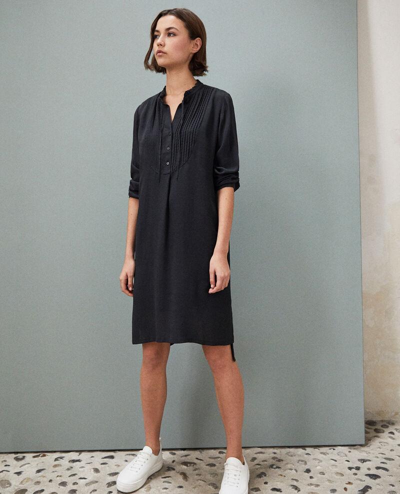 Kleid mit Plastron aus Seide Noir Isabella