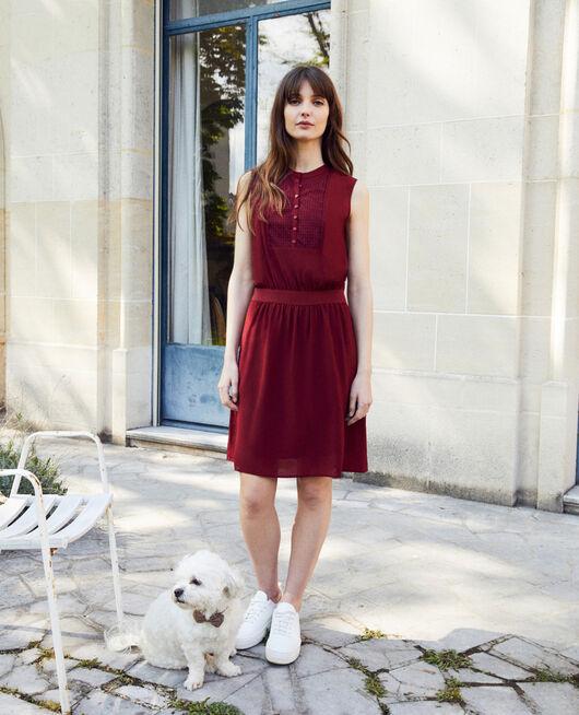 Kleid mit Spitzenplastron aus Seide CABERNET
