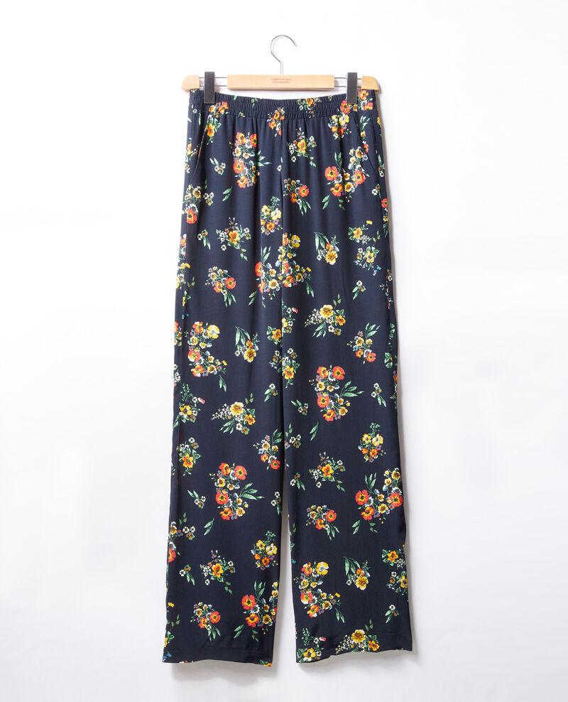 Hose im Pyjamastil Blau Flower