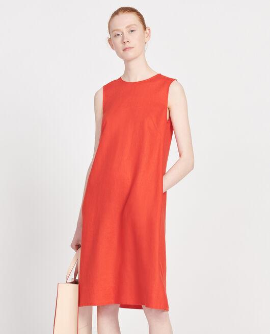 Kleid aus 100 % Leinen FIERY RED