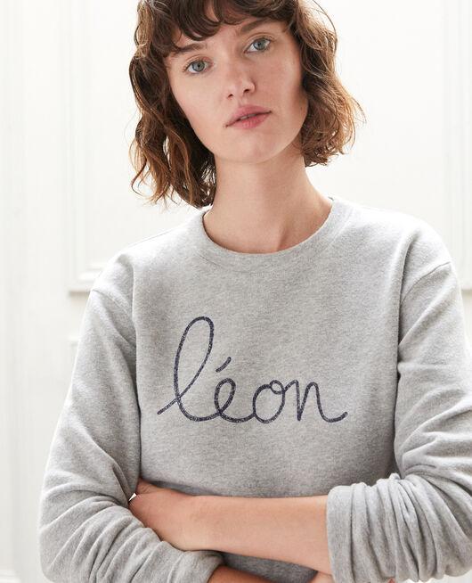 Sweatshirt mit Leon-Stickerei Grau