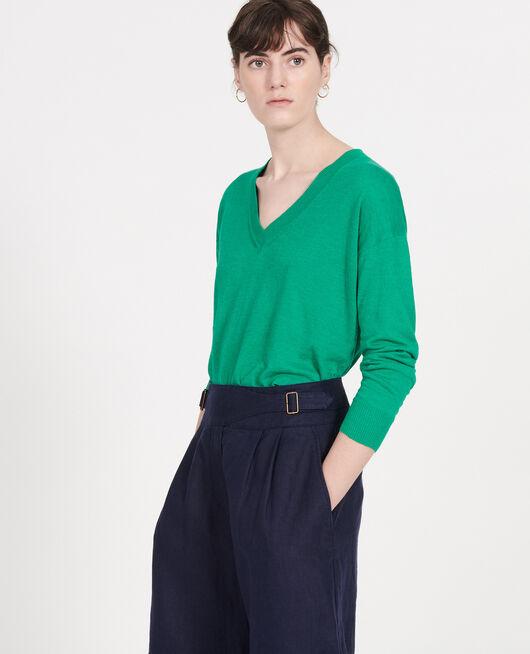 Pullover mit V-Ausschnitt aus Leinen und Baumwolle GOLF GREEN