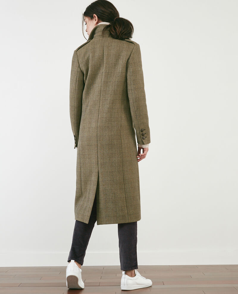 Langer Prince-de-Galles-Tweed-Mantel Chamois Duplexe
