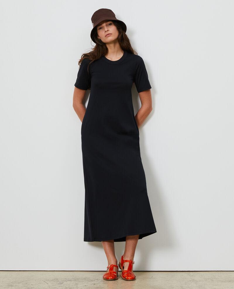 Langes Kleid aus Baumwolle mit Rundhalsausschnitt Black beauty Larosata