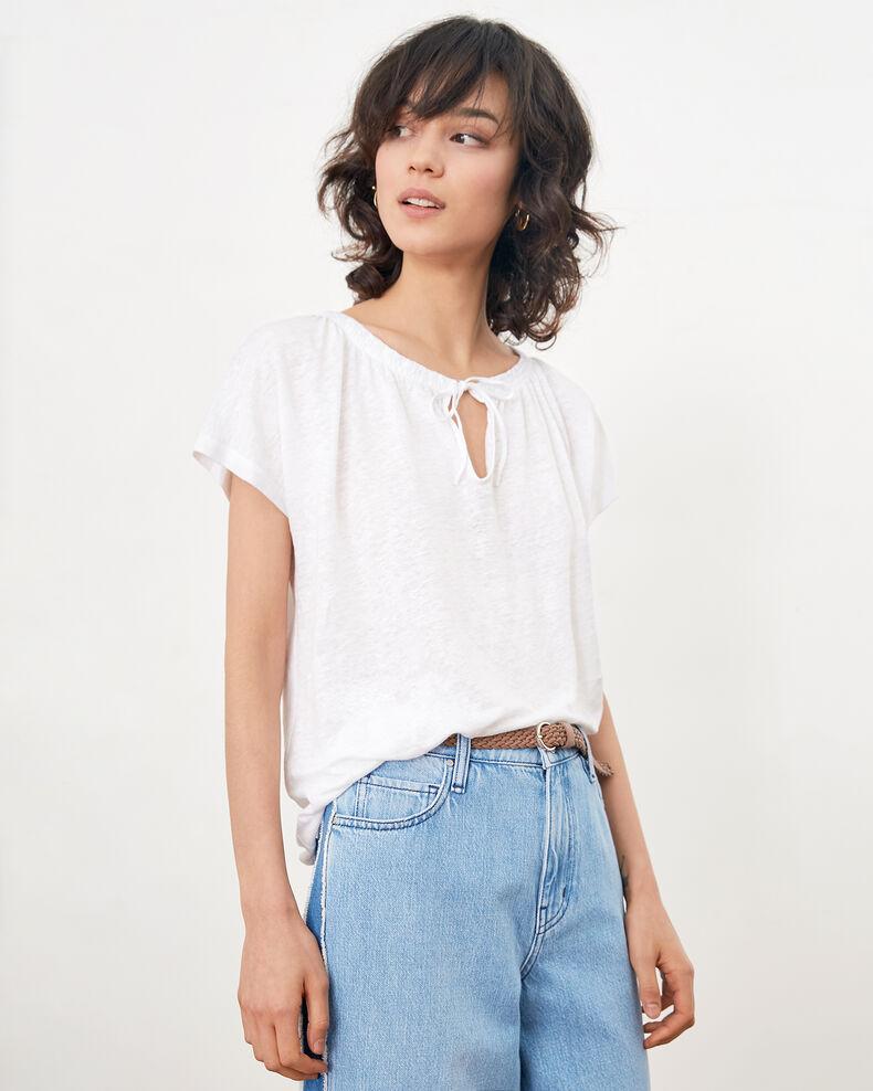 T-Shirt aus Leinen Blanc Flabi