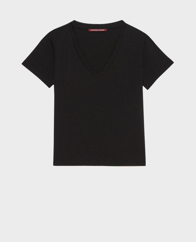 Fließendes T-Shirt mit V-Ausschnitt Black beauty Paberne