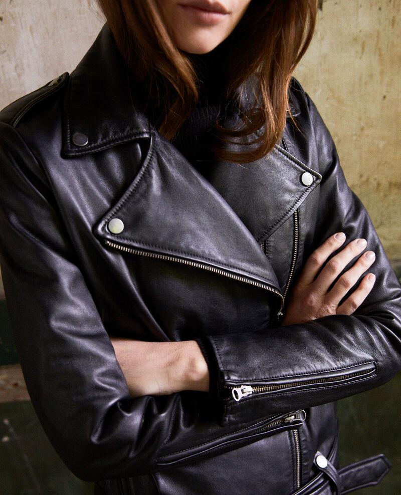 Jacke aus Glattleder Noir Jada