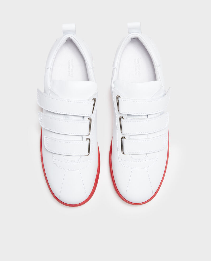 Sneakers aus Leder mit Klettlaschen White fiery red Leader