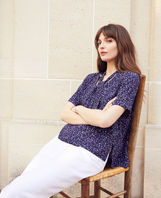 Bluse mit abnehmbarem Band CONFETTI INK NAVY