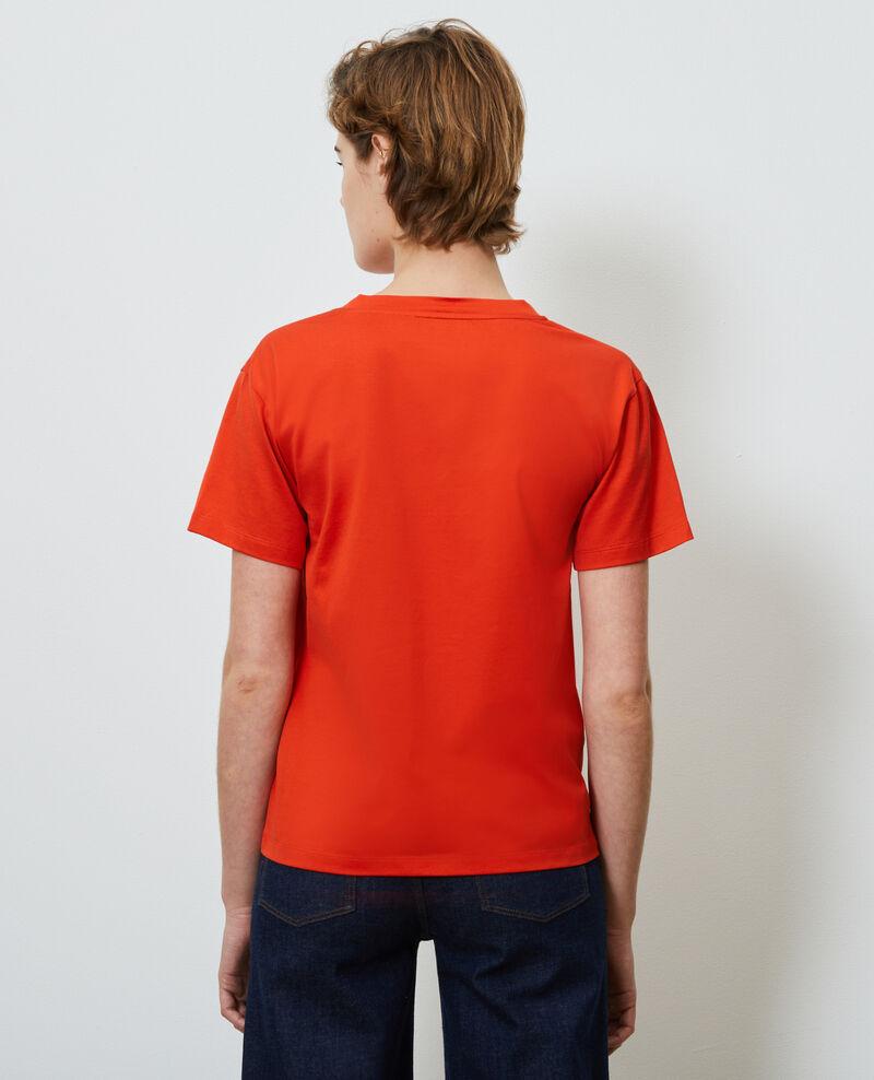 T-Shirt aus Baumwolle mit V-Ausschnitt Spicy orange Laberne