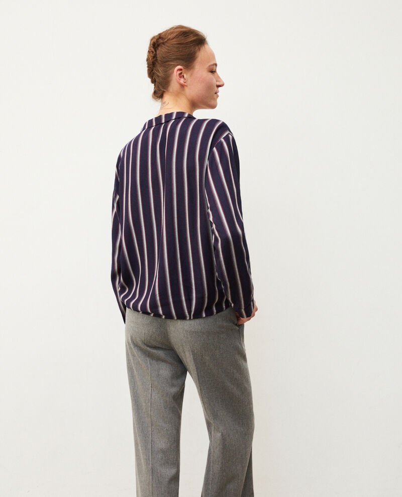 Bluse mit Pyjamakragen Blau Gladys