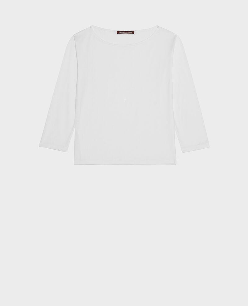 Langärmeliges T-Shirt aus Baumwolle mit U-Boot-Ausschnitt Optical white Lotel